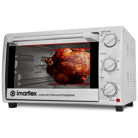 Imarflex 3-In-1 Convection & Rotisserie Oven Toaster/ 28L/Ss Grill Rack/Ss Body IT-281CRS